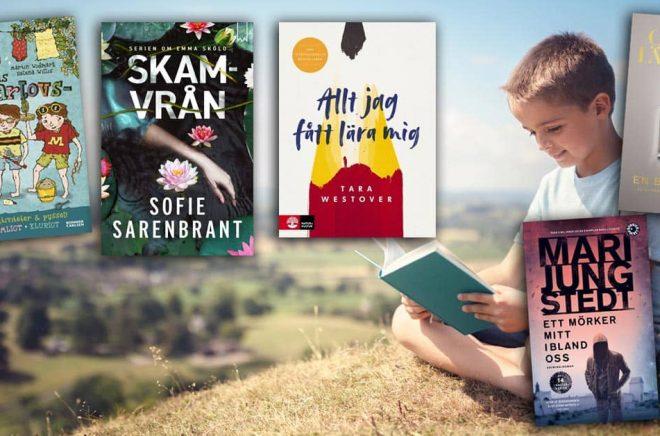 De mest sålda böckerna i Sverige under maj 2019. Bakgrundsfoto: iStock. Montage: Boktugg.