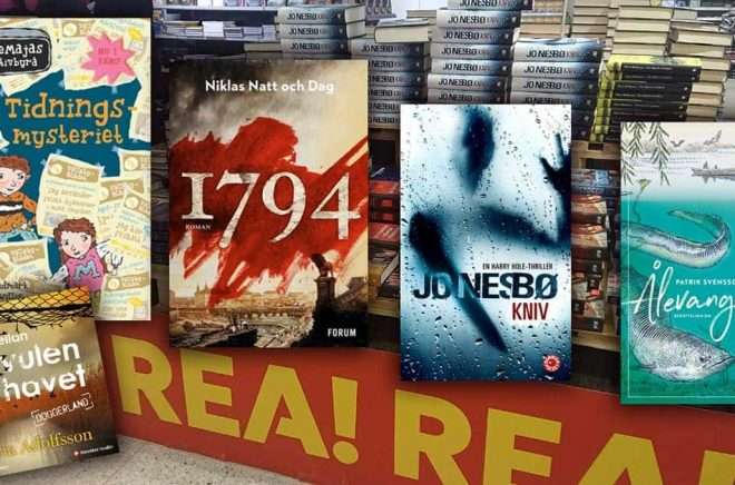 De mest sålda böckerna i februari 2020. Topplistorna präglas givetvis av Bokrean. Foto & montage: Boktugg.