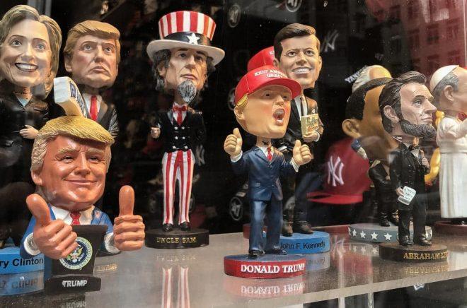 Donald Trump och andra politiska figurer i ett skyltfönster i New York. Foto: Roman Tiraspolsky/iStock.