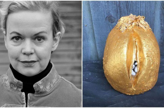 Regissören Frida Kempff vinner skräckpriset Årets Vagina. Porträttfoto: Erik Andersson/Wikimedia Commons. Statyetten Guldsnippan är skapad av Titti Winbladh.