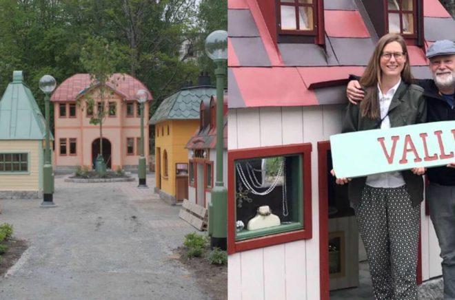 Helena Willis och Martin Widmark i lekens Valleby. Foto: Lekplatsbolaget