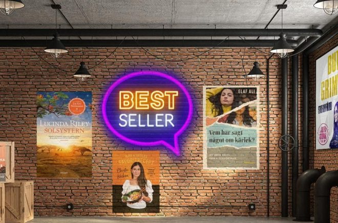 De mest sålda böckerna vecka 14 (2021) i Sverige. Bakgrundsfoto: iStock. Montage: Boktugg.