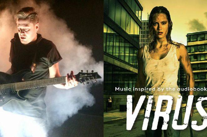 Emil Fredenmark (foto: privat) och skivomslaget till albumet Virus (foto: Storytel).