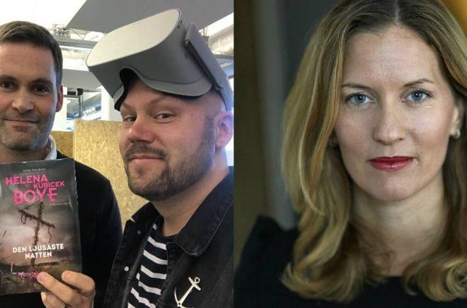 Till vänster: Pär Sikö på Jayway och Björn Gadd på Bokfabriken med VR-glasögon. Till höger: Helena Kubicek Boye. Foto: Pressbild