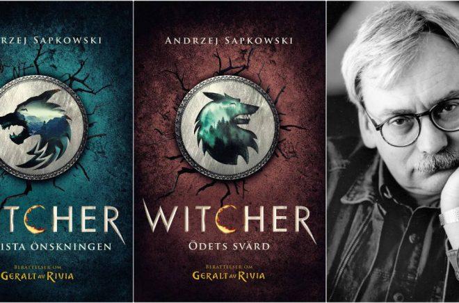 Omslagen till Witcher-böckerna Den sista önskningenochÖdets svärd som återutges av Albert Bonniers förlag i juni 2020. Författaren Andrzej Sapkowski (foto: Elzbieta Lempp).