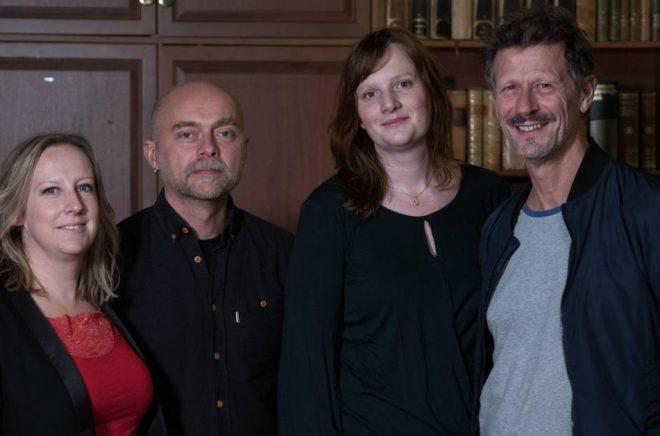 Författarna i Storytels writers' room: Felicia Welander, Gunnar Svensén, Karin Janson, Magnus Abrahamsson. Foto: Oskar Eklind